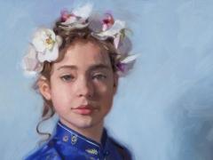 """Carolien van Olphen, """"Blue Butterfly"""", olieverf op massoniet"""